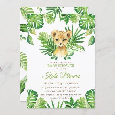 Cute Lion Cub Tropical Greenery Boy Baby Shower Invitation