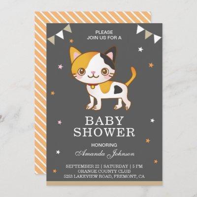 Cute Little Kitty Cat Baby Shower Invitation