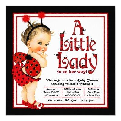 Cute Little Lady Red Ladybug Baby Shower Invitation