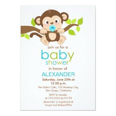 Cute Little Monkey Boy Baby Shower Invitations