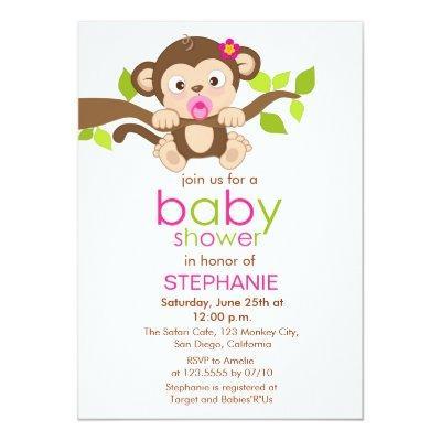 Little monkey baby shower invitations baby shower invitations cute little monkey girl baby shower invitation filmwisefo