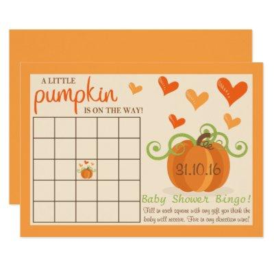 Cute Little Pumpkin Baby Shower Bingo Invitations