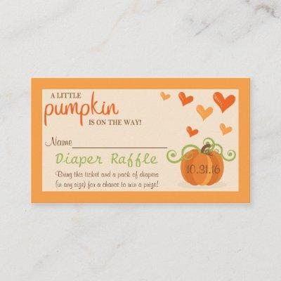 Cute Little Pumpkin Baby Shower Diaper Raffle Enclosure Invitations