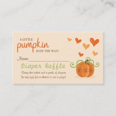 Cute Little Pumpkin Baby Shower Diaper Raffle Enclosure Card