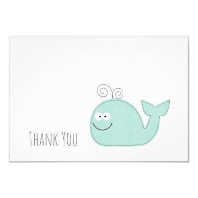 Cute Little Whale Thank You Flat Invitations / Aqua