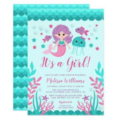 Cute Mermaid Baby Shower Invitations