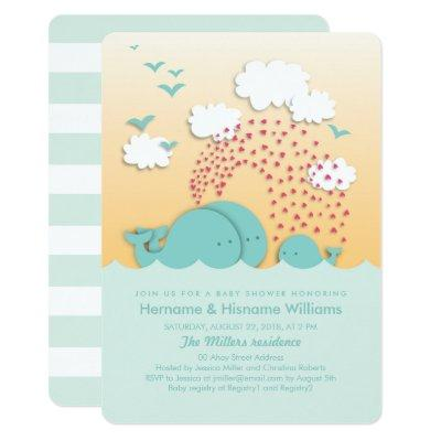 Cute Mint Whales Couples Invite