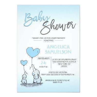 Cute Modern BOY Blue Mommy Elephant & Baby Shower Invitation