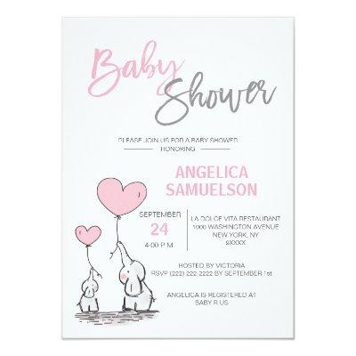 Cute Modern GIRL Pink Mommy Elephant & Baby Shower Invitations