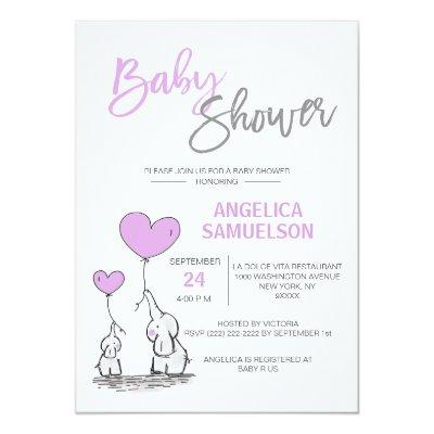 Cute Modern LAVENDER Mommy Elephant & Baby Shower Invitations