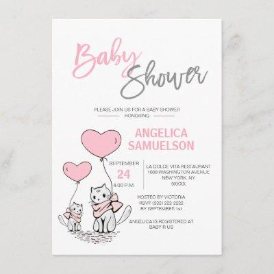 Cute Modern Pink Cat Kitten Girls Baby Shower Invitation
