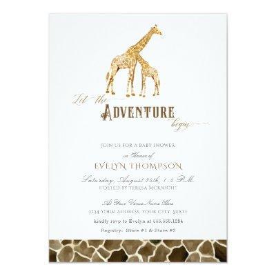 Cute Modern Safari Adventure Baby Shower Giraffes Invitation