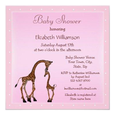 Cute Mom & Baby Giraffe Pink Baby Shower Invitation