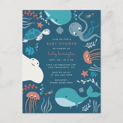 Cute Nautical Under The Sea Baby Shower Invitation Postcard
