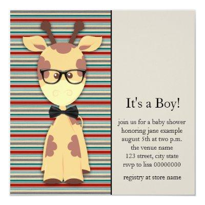 Cute Nerdy Geek Giraffe Baby Boy Shower Invitation