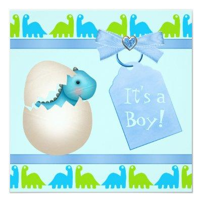Cute Newly Hatched Baby Dinosaur Baby Shower Invitations