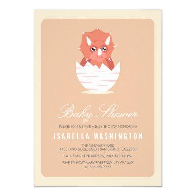 Cute Newly Hatched Triceratops in Egg Baby Shower Invitations