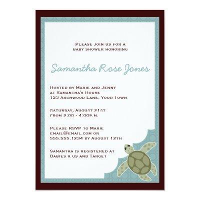 Cute Ocean Theme - Blue and Brown Invitations