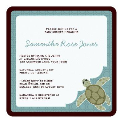 Cute Ocean Theme Baby Shower Blue and Brown Invitation