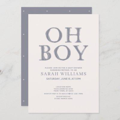 Cute Oh Boy Blue Dots Minimal Baby Shower Invitation