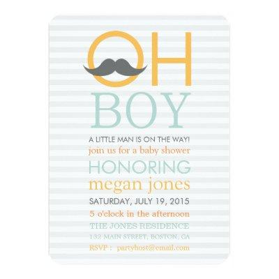 Cute Oh Boy Mustache Baby Shower Invitations