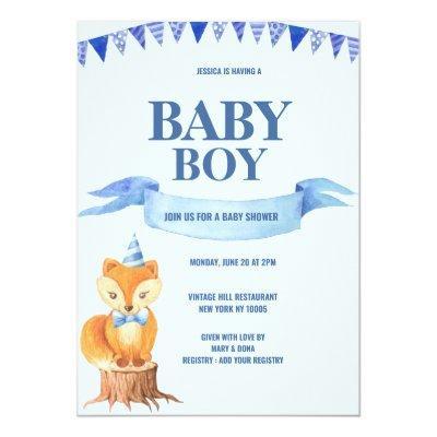 Cute Orange Blue Watercolor Fox Boy Baby Shower Invitation