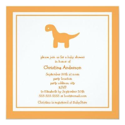 Cute Orange Dinosaur Baby Shower Invitation