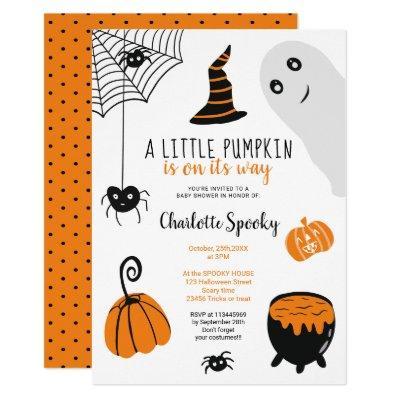 Cute orange Halloween illustrations baby shower Invitation