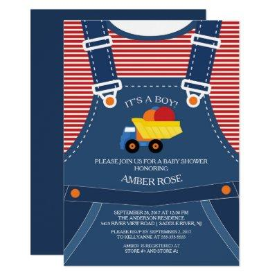 Cute Overalls Toy Truck Baby Shower Invitations