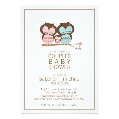 Cute Owl Family Couples Invitations