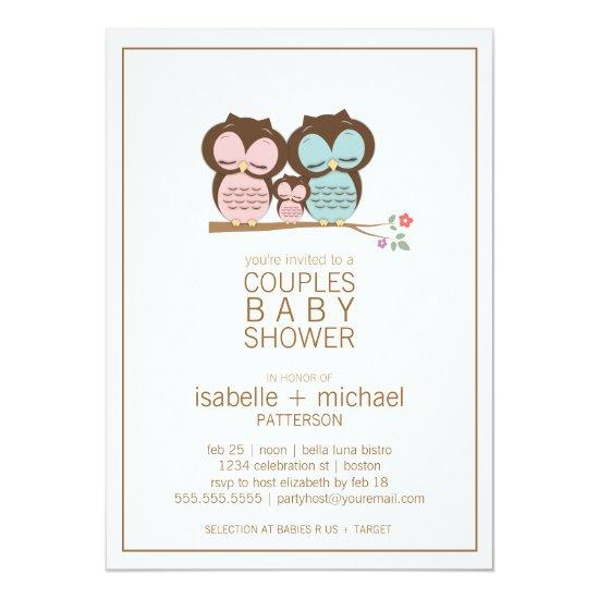Cute Owl Family Couples Baby Shower Invitations