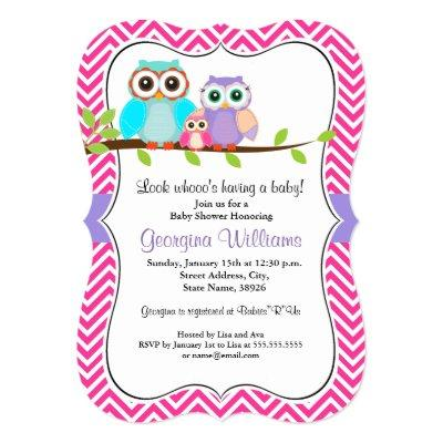 Pink owl baby shower baby shower invitations baby shower invitations baby girl shower invitations cute owl girl pink invitations filmwisefo
