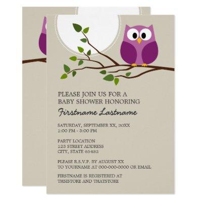 Cute Owl on Branch Baby Girl Shower Invitation
