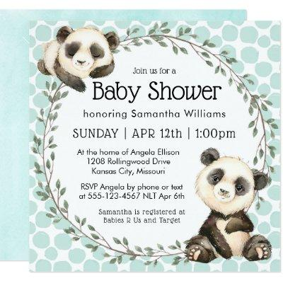 Cute Panda Bears Square Baby Shower Invitation