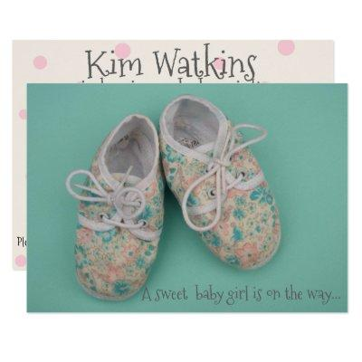 Cute pastel shoes baby girl shower invitation