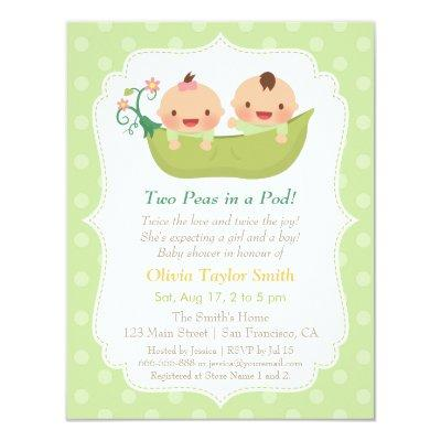 Cute Peas in a Pod Twin Baby Shower Invitations