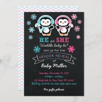 Cute Penguin Chalk Style Gender Reveal Invitation