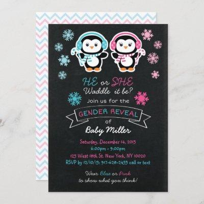 Cute Penguin Chalkboard Gender Reveal Invitation