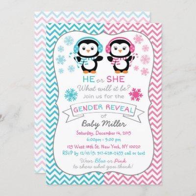 Cute Penguin Gender Reveal Invitation