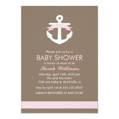 Cute Pink Anchor Nautical Theme Baby Shower Invitation