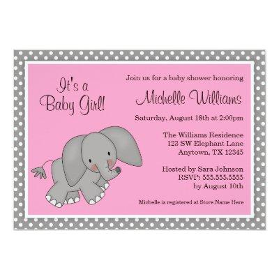 Cute Pink Elephant Girl Baby Shower Invitations