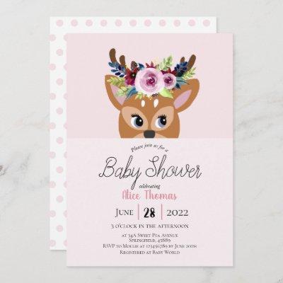 Cute Pink Floral Woodland Deer Flowers Baby Shower Invitation