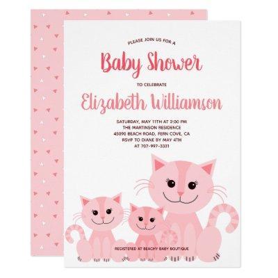 Cute Pink Kitty Cat Kitten Girl Modern Baby Shower Invitation