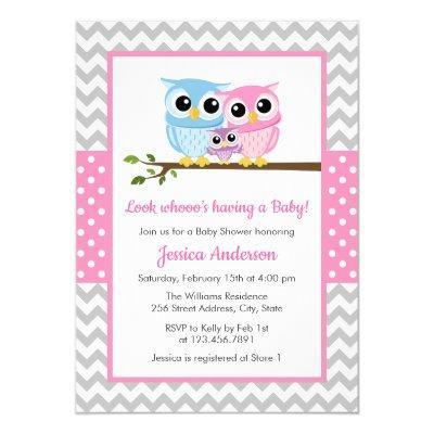 Cute Pink Owl Family Gray Chevron Girl Baby Shower Invitation