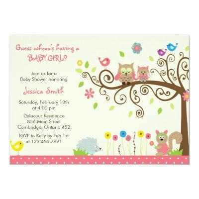 Cute Pink Owl Girl Baby Shower Invitations