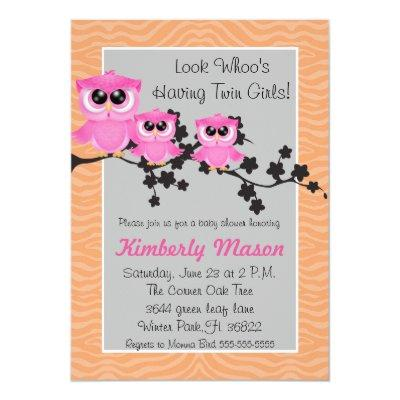 Cute Pink Twin Girl Owl Baby Shower Invitation