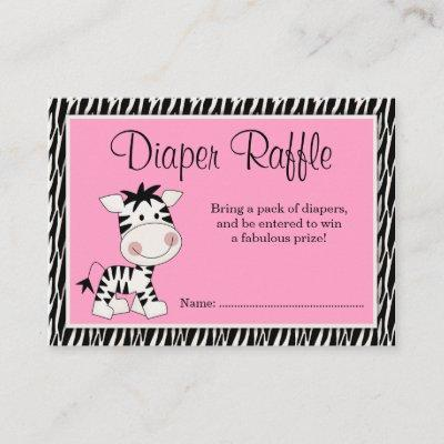 Cute Pink Zebra Baby Shower Diaper Raffle Enclosure Card