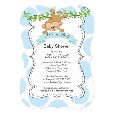 Cute Polka Dots & Monkey boy Invitations