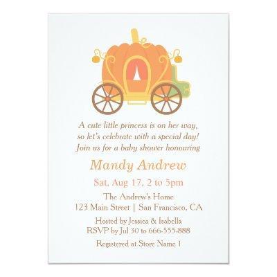 Cute Pumpkin Carriage Baby Shower Invitations