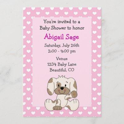 Cute Puppy and Hearts on Pink Girl's Baby Shower Invitation
